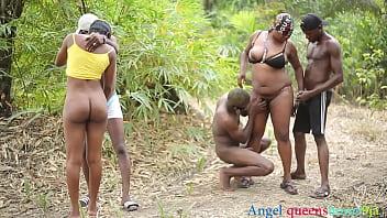 Africanas orgia com macho dotados no meio do mato